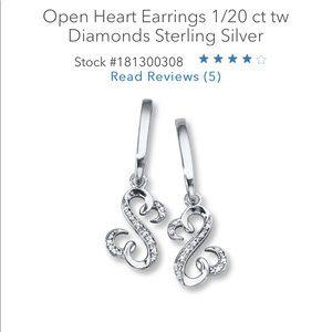 Open hearts sterling silver earrings